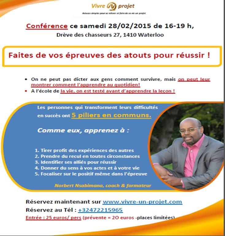 Conférence 28/02/2015- Faites De Vos épreuves Des Atouts Pour Réussir