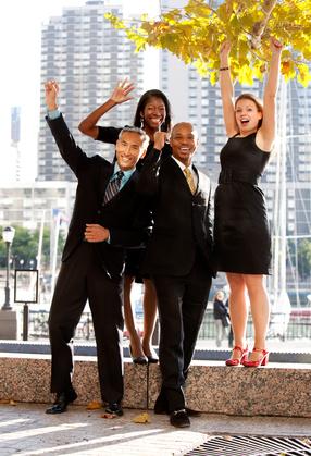A business team celebrating success